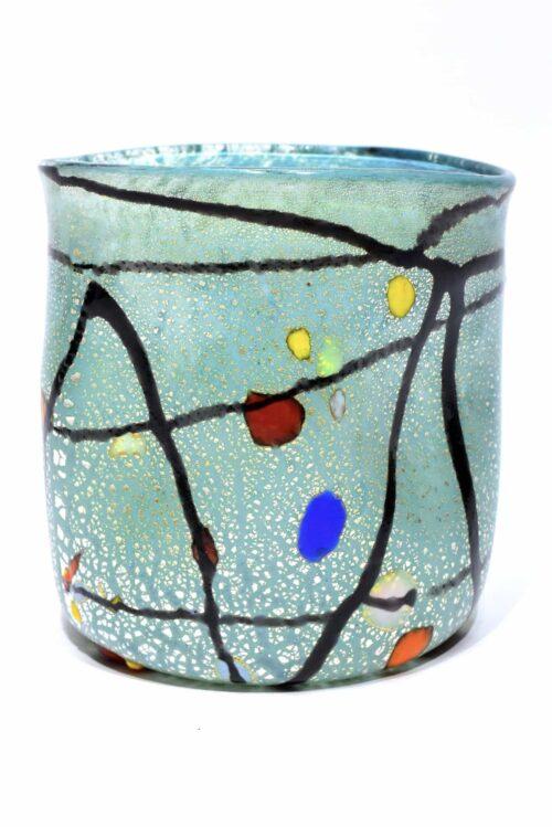 Bicchiere foglia argento in vetro di Murano