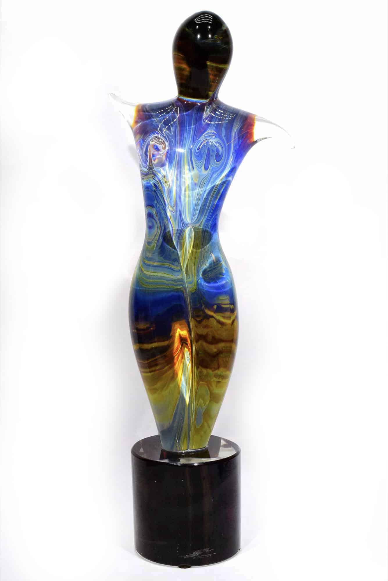 scultura danzatrice calcedonio in vetro di MUrano