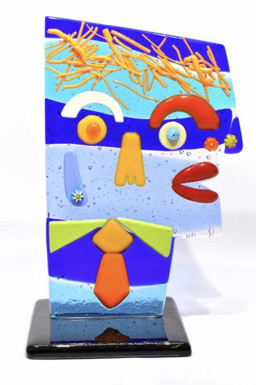 Scultura testa Picasso in vetro di Murano