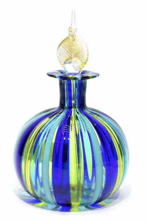 bottiglia a canne in vetro di murano