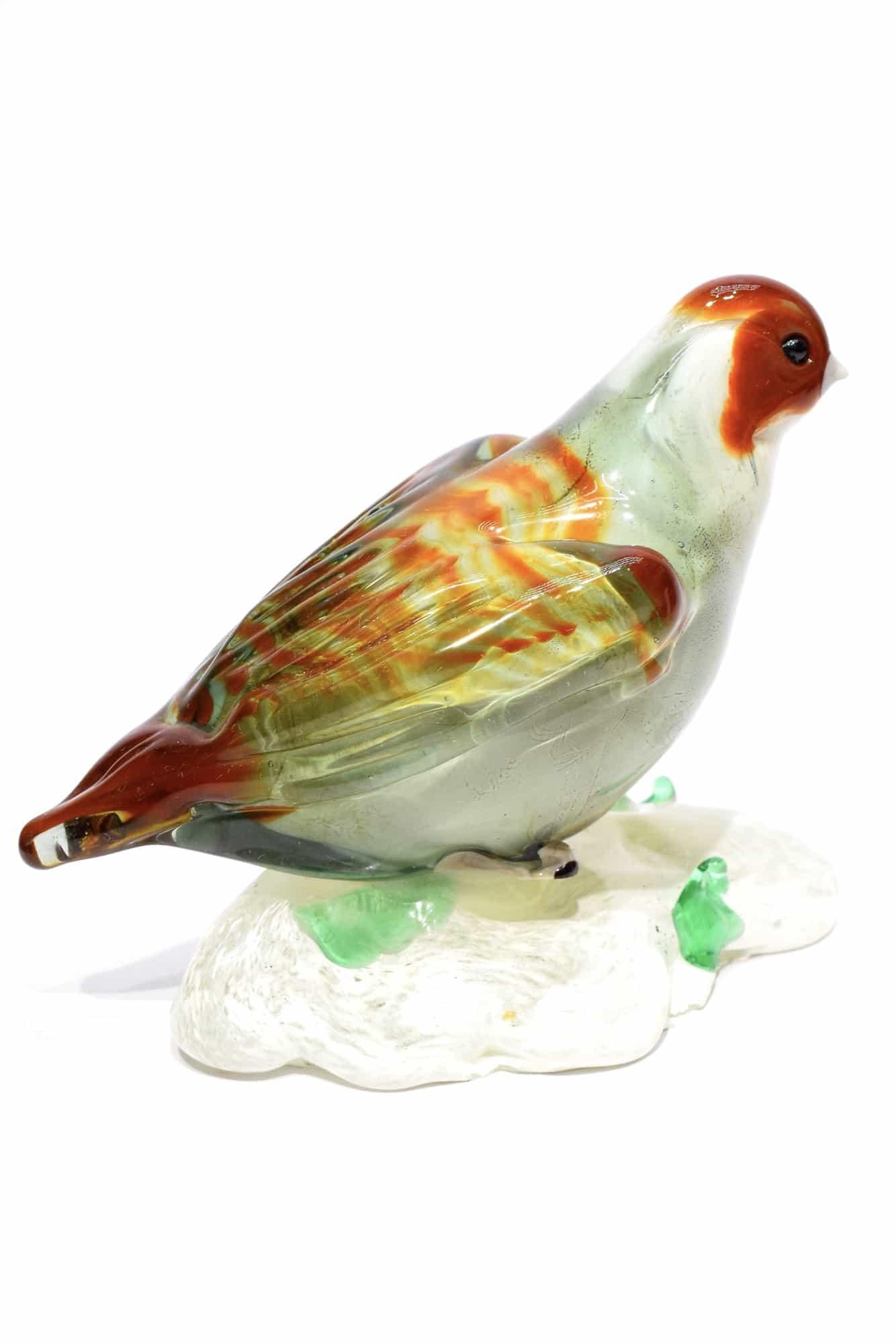 uccello starna in vetro di murano
