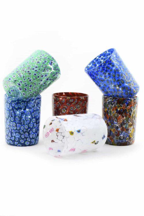 bicchieri murrina in vetro di Murano