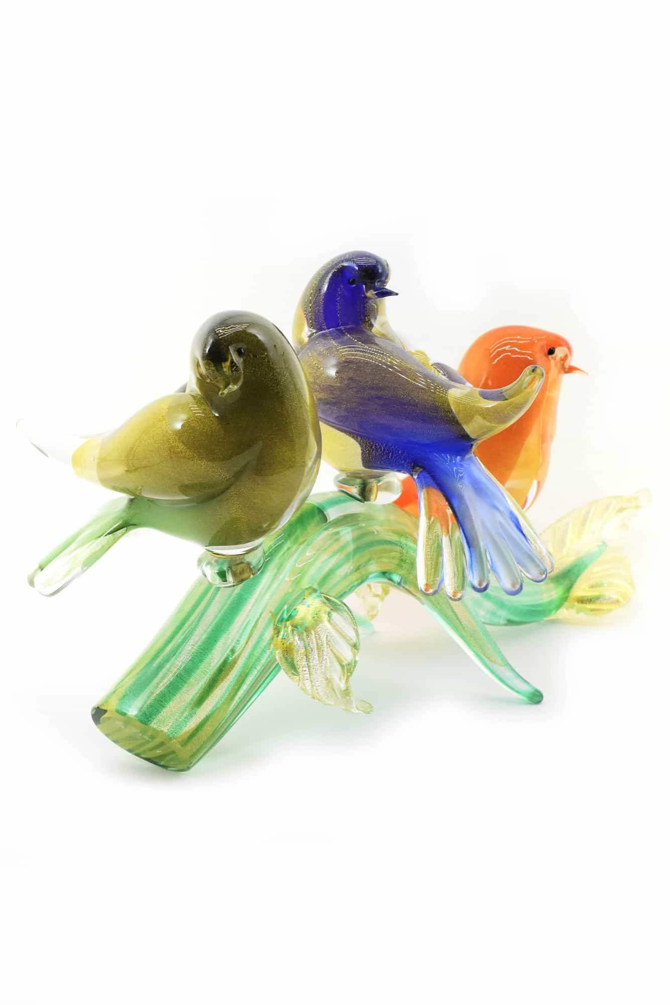 ramo con uccelli in vetro di murano