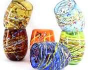 bicchieri con fili in vetro di murano